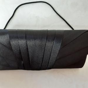 Jessica McClintock Black Satin Evening Bag